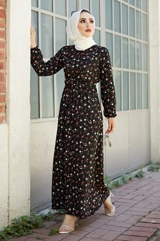 SBH Bel Kuşaklı Çiçek Desenli Elbise 8372-5 - Thumbnail