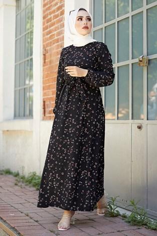 SBH Bel Kuşaklı Çıtır Desenli Elbise 8372-6 - Thumbnail