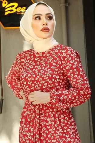 SBH Bel Kuşaklı Kırmızı Desenli Elbise 8372-2 - Thumbnail