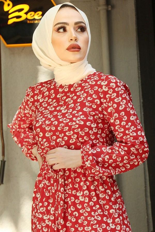 SBH Bel Kuşaklı Kırmızı Desenli Elbise 8372-2