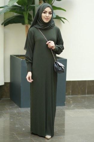 SBH Boydan Piliseli Elbise 8380-1 Haki - Thumbnail