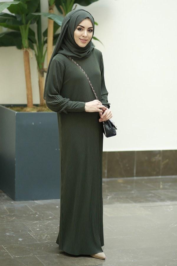 SBH Boydan Piliseli Elbise 8380-1 Haki