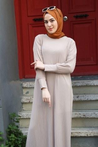 SBH Boydan Piliseli Elbise 8380-15 - Thumbnail