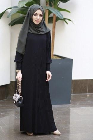 SBH Boydan Piliseli Elbise 8380-2-siyah - Thumbnail