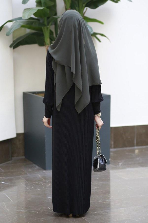 SBH Boydan Piliseli Elbise 8380-2-siyah