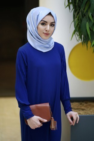 SBH Boydan Piliseli Elbise 8380-8 - Thumbnail