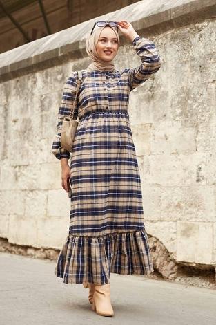 - SBH Oduncu Desen Elbise 1263-3 Camel