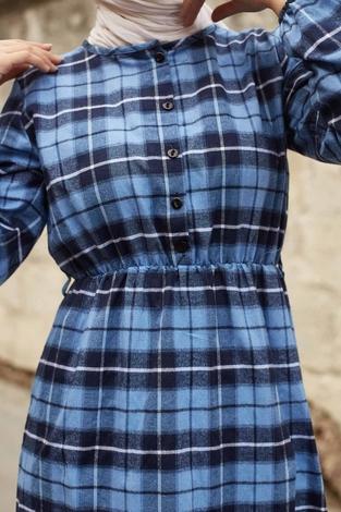 - SBH Oduncu Desen Elbise 1263-4 Mavi (1)