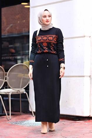 - SBH Triko Etnik Desen Elbise 1401-1 Siyah