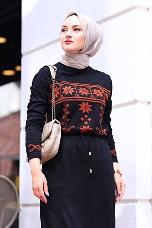 - SBH Triko Etnik Desen Elbise 1401-1 Siyah (1)