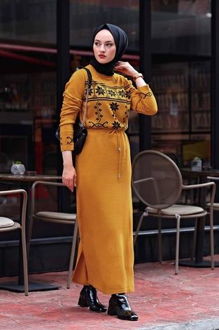 - SBH Triko Etnik Desen Elbise 1401-3 Hardal