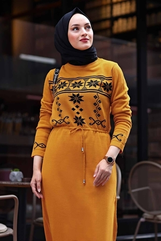- SBH Triko Etnik Desen Elbise 1401-3 Hardal (1)