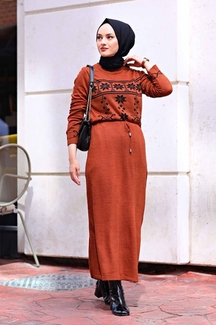 - SBH Triko Etnik Desen Elbise 1401-4 Kiremit