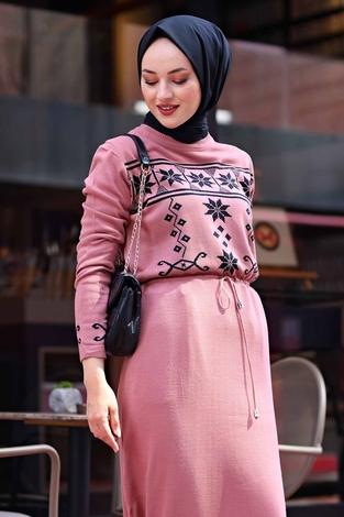 - SBH Triko Etnik Desen Elbise 1401-5 Gülk. (1)