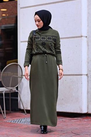 - SBH Triko Etnik Desen Elbise 1401-6 Haki