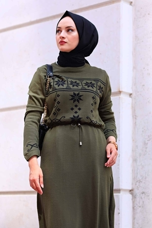 - SBH Triko Etnik Desen Elbise 1401-6 Haki (1)