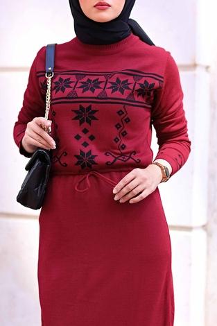 - SBH Triko Etnik Desen Elbise 1401-7 Bordo (1)