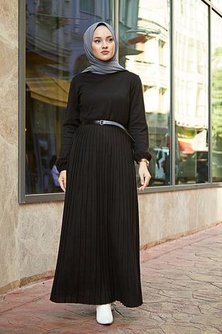 - SBH Triko Piliseli Elbise 6342-1 Siyah