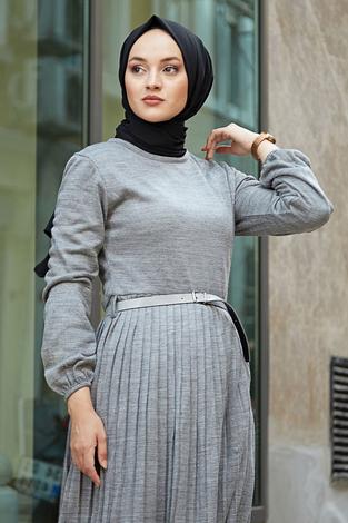 - SBH Triko Piliseli Elbise 6342-2 Gri (1)