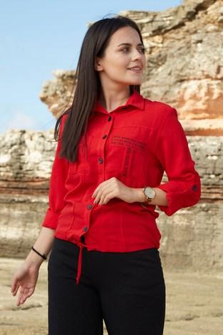 - SEM Yazı Baskılı Gömlek 6745-4 Kırmızı (1)