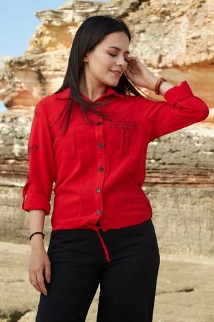 - SEM Yazı Baskılı Gömlek 6745-4 Kırmızı
