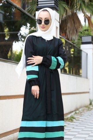 Şerit Detaylı Abaya Ferace 4863-02 - Thumbnail