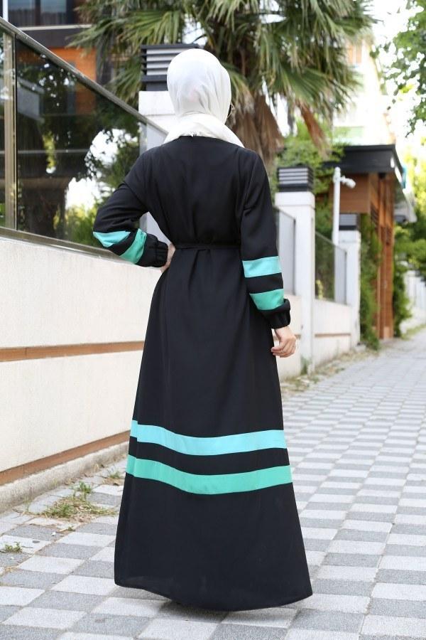 Şerit Detaylı Abaya Ferace 4863-02
