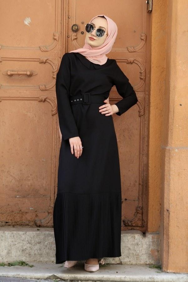 Etek Ucu Pilise Detaylı Elbise 4111-01