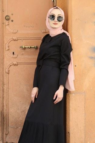 - Etek Ucu Pilise Detaylı Elbise 4111-01 (1)