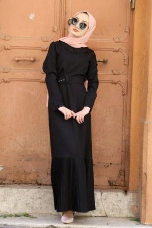 Etek Ucu Pilise Detaylı Elbise 4111-01 - Thumbnail