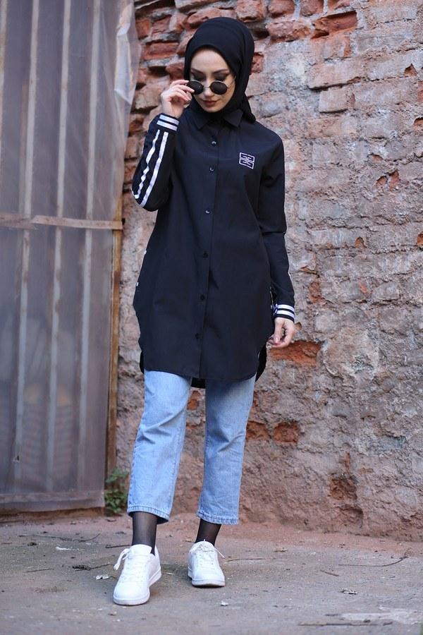 Şerit Detaylı Gömlek Tunik 2066-1 Siyah