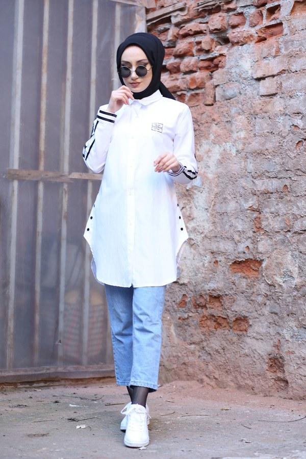 Şerit Detaylı Gömlek Tunik 2066-2