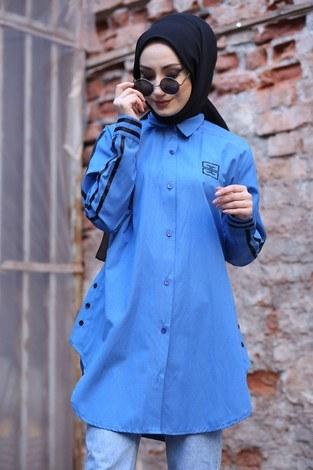 Şerit Detaylı Gömlek Tunik 2066-3 - Thumbnail