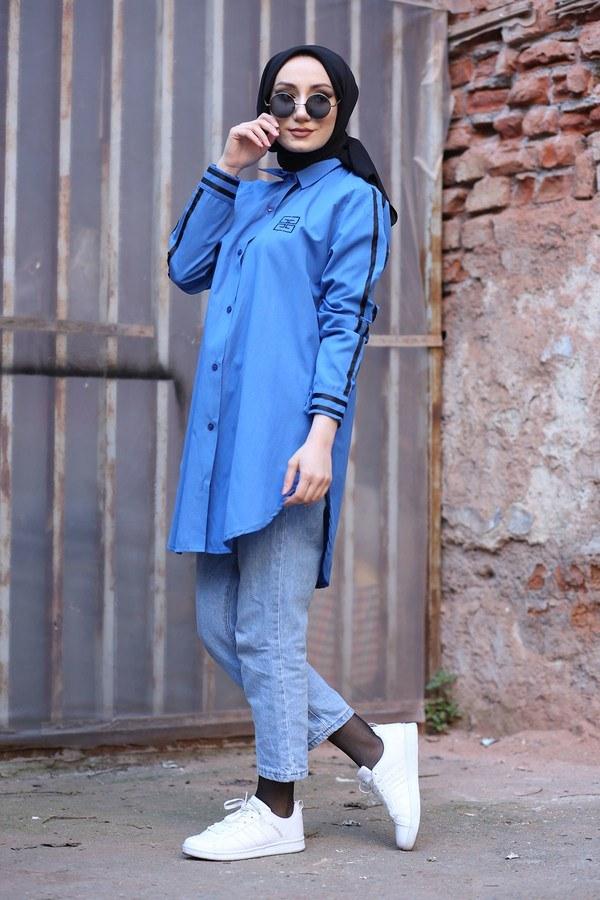 Şerit Detaylı Gömlek Tunik 2066-3