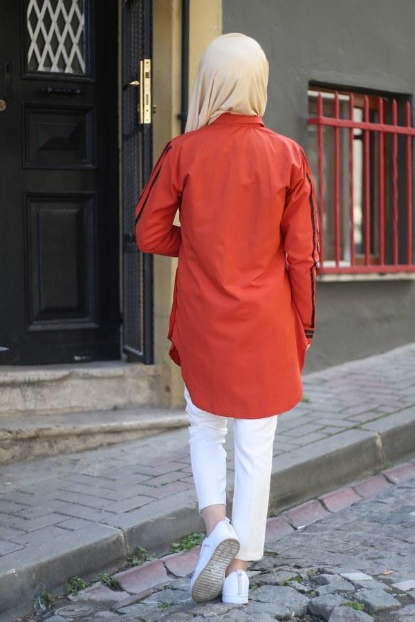 Şerit Detaylı Gömlek Tunik 2066-6