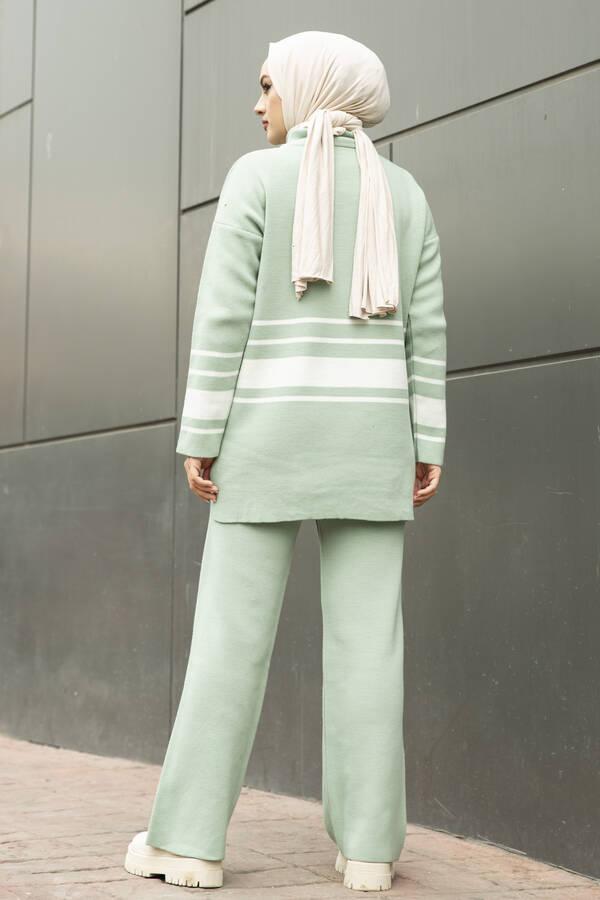Şerit Detaylı Tesettür Triko Takım Mint