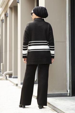 Şerit Detaylı Tesettür Triko Takım Siyah - Thumbnail