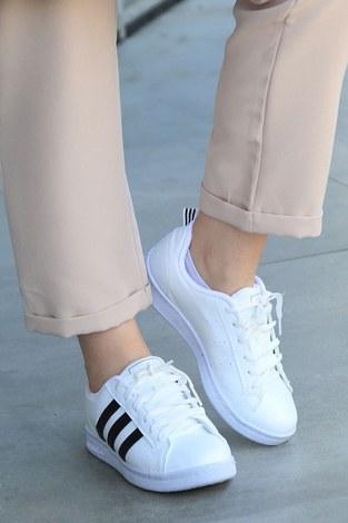 - Şeritli Beyaz Spor Ayakkabı 6147-2