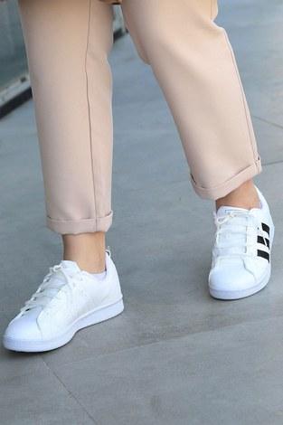 - Şeritli Beyaz Spor Ayakkabı 6147-2 (1)