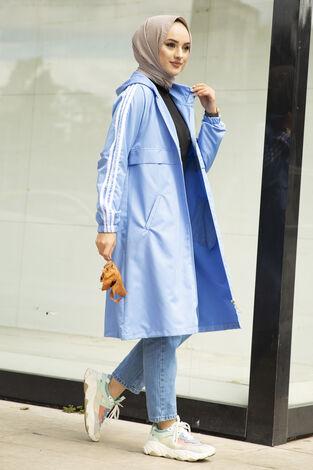 Şeritli Kapüşon Detaylı Tesettür Yağmurluk Bebe Mavisi - Thumbnail