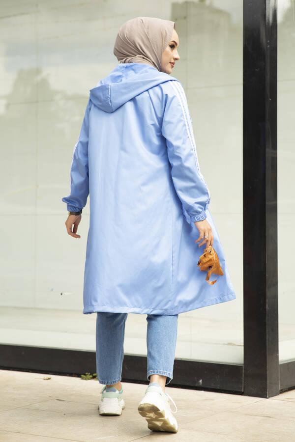 Şeritli Kapüşon Detaylı Tesettür Yağmurluk Bebe Mavisi