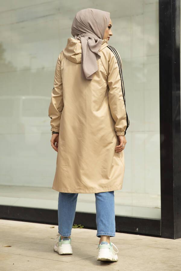 Şeritli Kapüşon Detaylı Tesettür Yağmurluk Camel