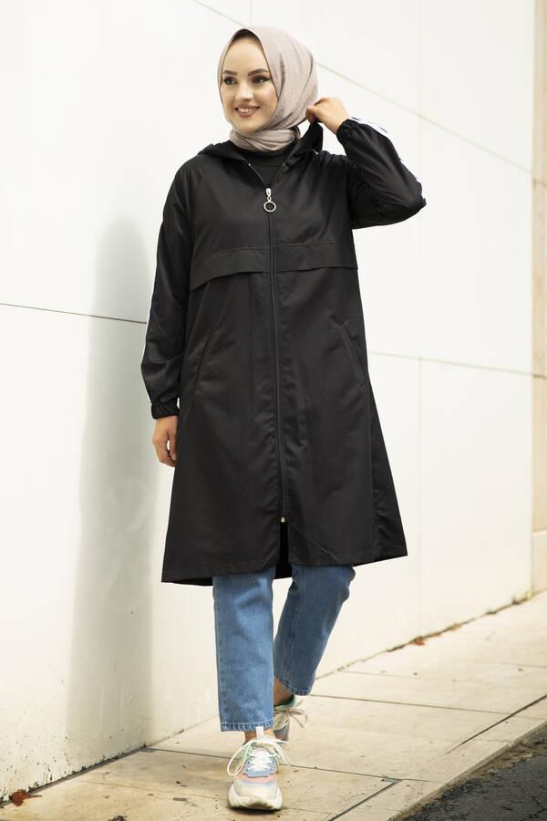 Şeritli Kapüşon Detaylı Tesettür Yağmurluk Siyah