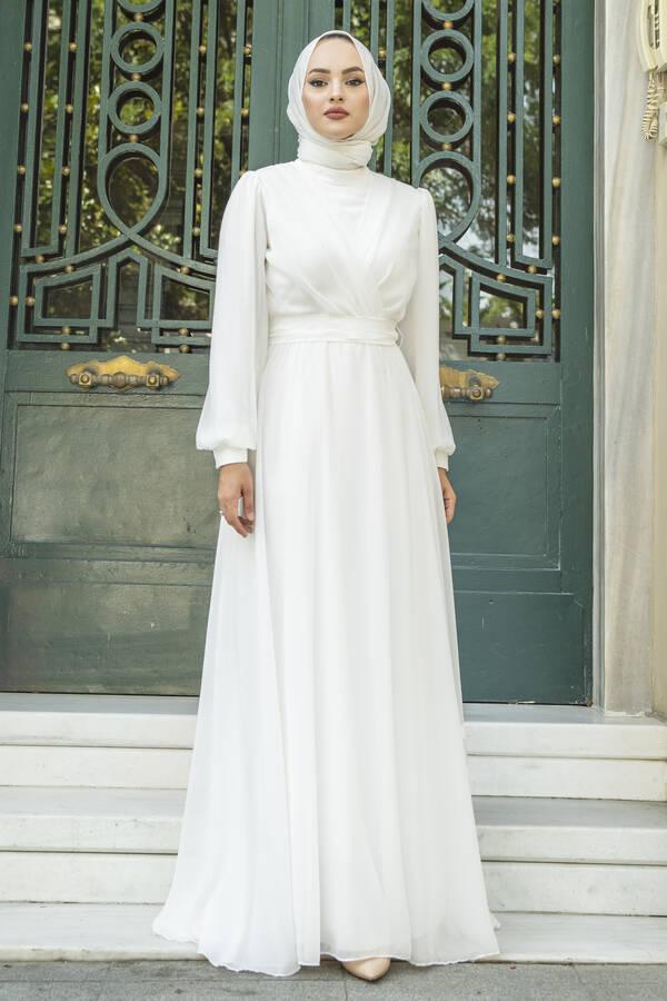 Şifon Beli Kuşaklı Abiye Elbise Beyaz
