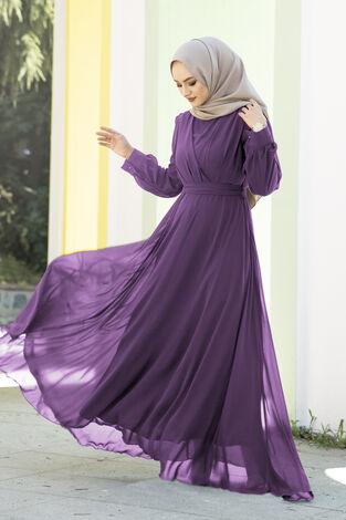 Şifon Beli Kuşaklı Abiye Elbise Mor - Thumbnail