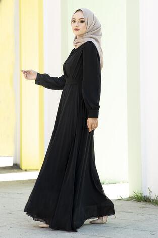 Şifon Beli Kuşaklı Abiye Elbise Siyah - Thumbnail