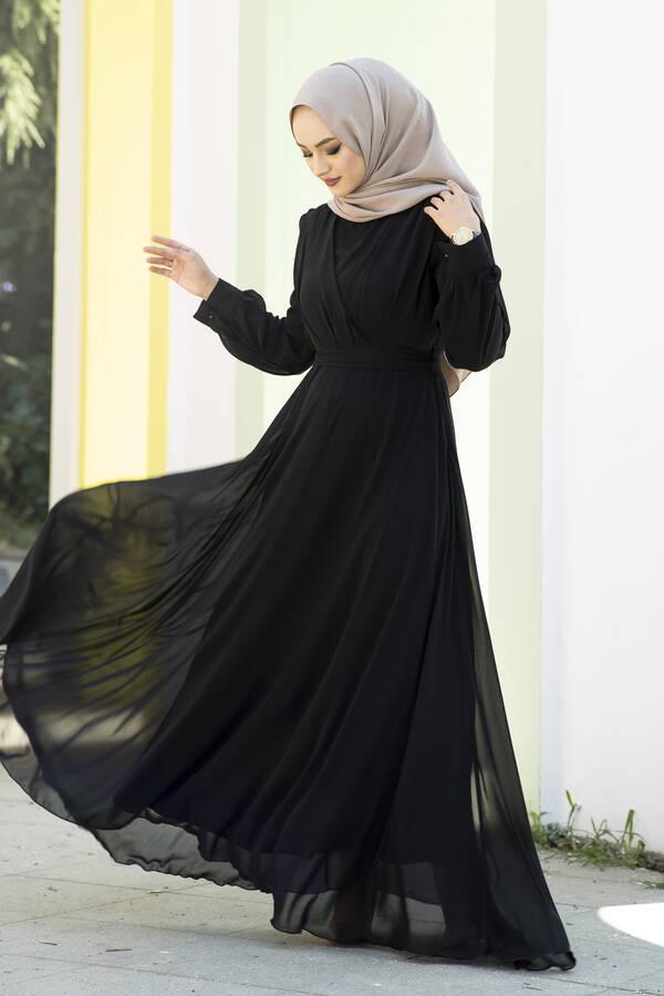 Şifon Beli Kuşaklı Abiye Elbise Siyah