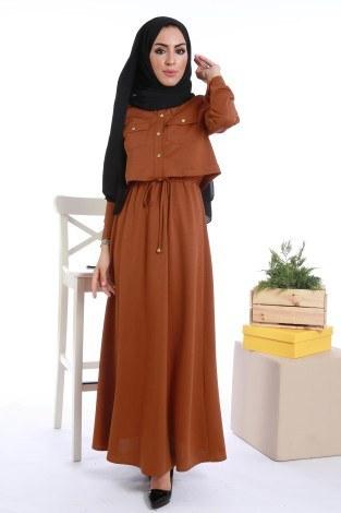 - Şık Tesettür Elbise 8201-10