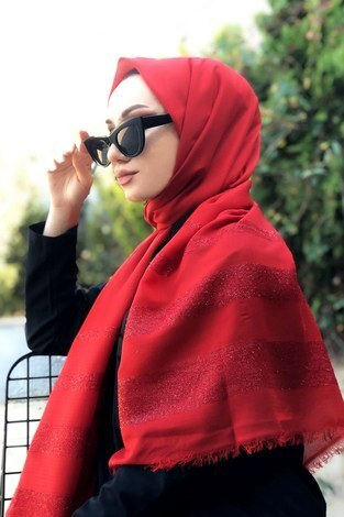 - Sim şeritli Şal 5777-25 kırmızı (1)