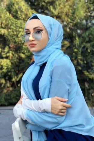 - Sim şeritli Şal 5787-37 bebe mavisi